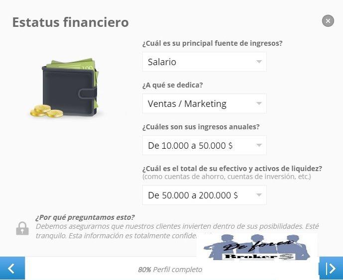 completar nuestro perfil etoro estatus financiero