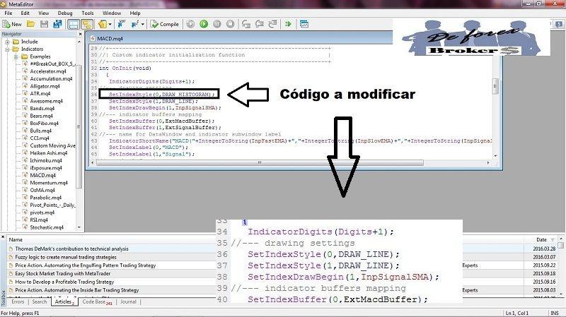 MACD tradicional para Metatrader 4 código que hay que modificar