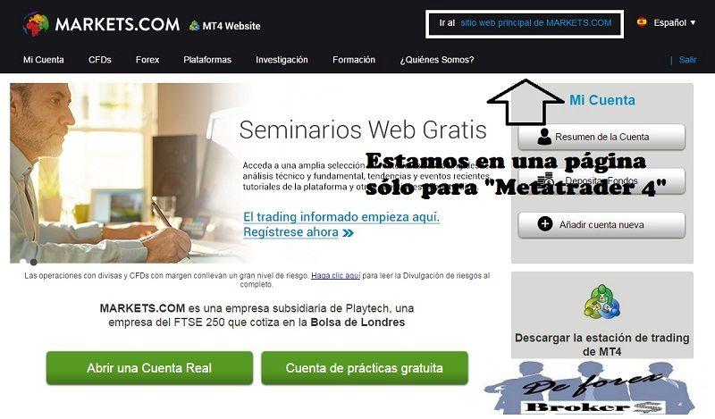 Instalar Metatrader 4 en Markets.com sin Problemas página de mt4