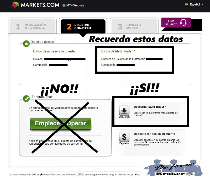 Instalar Metatrader 4 en Markets.com sin Problemas registro completo
