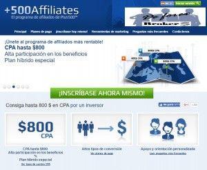 Programa de afiliados Plus500 affiliates