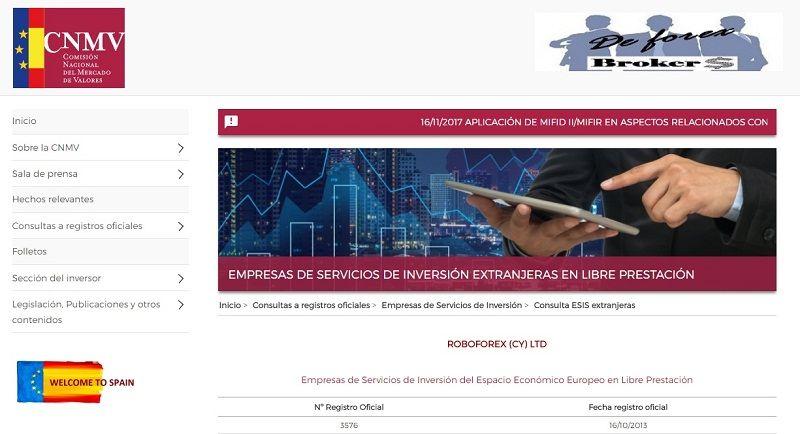 regulación roboforex cnmv