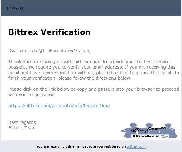 bittrex, confirmación de correo