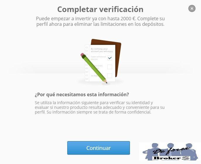 completar la verificación de nuestra cuenta etoro