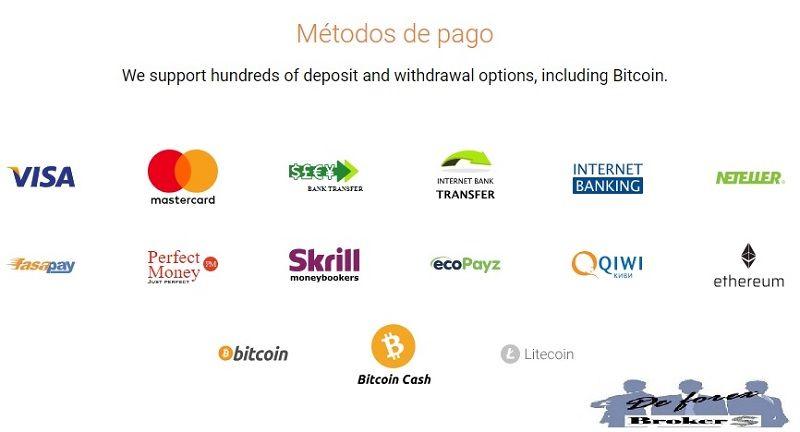 binary.com, métodos de pago y retiro